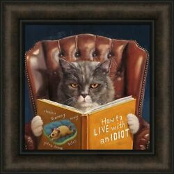 HOME IMPROVEMENT by Lucia Heffernan 16x16 Cat Reading Funny FRAMED ART PICTURE $32.95