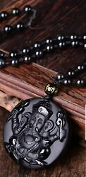 Ganesh Manta Natural Stone Black Obsidian Crystal Wealth Powerful Amulet Pendant $11.99