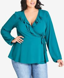 City Chic Trendy Plus Size Ruffled Wrap Top Sizes 24 2XL $25.42