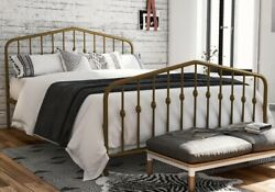 FULL size Sturdy Golden Metal Platform Bed Frame with Headboard Footboard  NEW