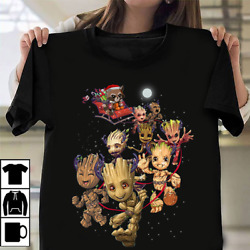 Groot Reindeer And Rocket Santa Claus Christmas Black Women T-Shirt