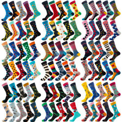 10 Pairs Lot Mens Cotton Socks Novelty Colourful Casual Fancy Funny Dress Socks $22.89