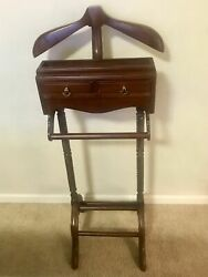 Vintage Clothes Valet Butler Stand Gentlemans Suit Rack Hanger With Drawers
