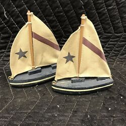 Pair Of Beach Coastal Cottage Sail Boats Nautical Home Decor
