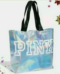 Victoria Secret PINK Silver Metallic Shopping Tote Bag Reusable Gym Beach Gift