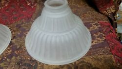 LARGE FROSTED RIBBED TORCHIERE GLASS LAMP LIGHT SHADE 5 3 $16.50