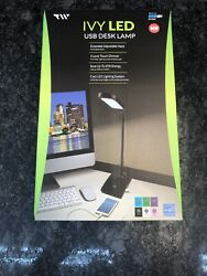 Table Desk Lamp With USB Charging Port LED Lighting Hotel Office Computer Black