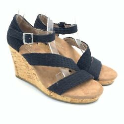 Toms Womens Sandals Black Strappy High Cork Wedge Heel Open Toe US 5.5 EU 36 New