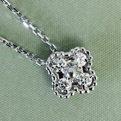 RARE Van Cleef & Arpels VCA DIAMOND White Gold Alhambra Pendant Necklace Chain