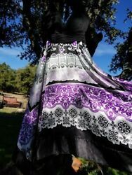 Sangria Handkerchief Hem Black amp; Purple Party Dress Size 4 $13.50