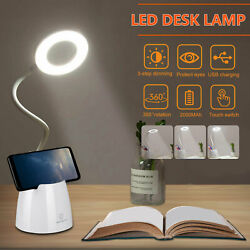 Dimmable LED Desk Light Table Bedside Reading Lamp Touch Rechargeable USB Port $15.97