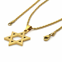 Men Gold Plated Stainless Steel Star of David Pendant $9.99