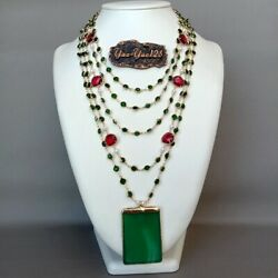 5 Strands 18#x27;#x27; White Pearl Green Crystal Chain Necklace Green Agate Pendant $26.60