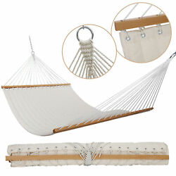55#x27;#x27; Hammocks Double Quilted Fabric Swing with Pillow hammocks Natural $52.99