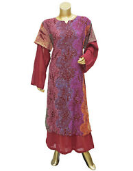 Dubai Style Caftan Polyester Flared Wine Printed Gown Kaftan Maxi for Women#x27;s $24.29