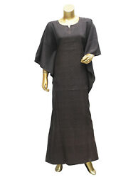 Dubai Style Caftan Black Printed Flared Polyester Gown Kaftan Maxi for Women#x27;s $12.86
