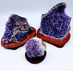 Amethyst Cluster with Wooden Base $64.99