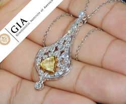 GIA Natural 4.7Cts VS F Diamond No Heat Sapphire 18K Solid Gold Pendant Necklace