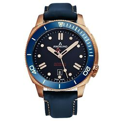 Anonimo Men's Nautilo Blue Leather Strap Bronze Automatic Watch AM100207005A07 $1,299.00
