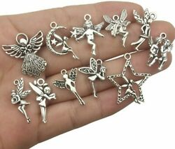 11 Fairy Charms Antique Silver Tone Fairy Tale Angel Pendants Assorted Lot $3.82