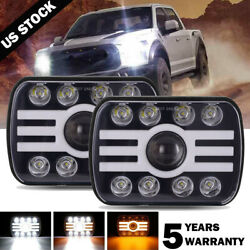 Pair 500W 7x6 5x7 LED Headlight Hi Lo Beam DRL For Chevrolet Jeep Cherokee XJ $65.99