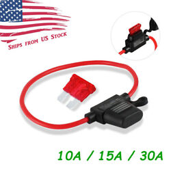 In-Line Waterproof Auto Mini Blade ATC 10A15A30A Fuse Holder 10AWG Wire US $4.89