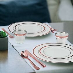 Rose Gold Plastic Dinnerware Set 600 Pieces 100 Guests Plates Cups amp; Cutlery $119.99