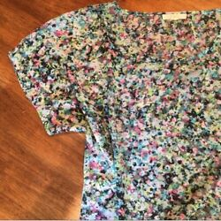 Sheer Floral Boutique Short Sleeve Blouse SMALL $12.50