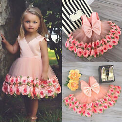 US Pageant Flower Girls Dress Kids Birthday Wedding Bridesmaid Formal Prom Gown