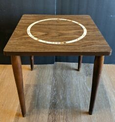 Vintage Mid Century Modern Mosaic End Table Hairpin Legs
