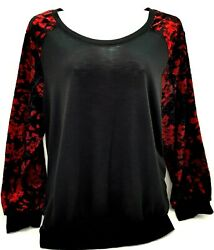 Alyx Womens Top Black Red Velvet Sleeve Stretch Scoop Neck Pullover Size 3x $19.79