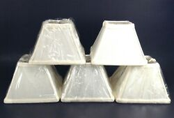 5 Chandelier Square Clip On Mini Lamp Shades 4.25