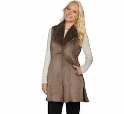 NEW Dennis Basso Faux Shearling Long Women#x27;s Vest a278702 Taupe Size Large $32.95