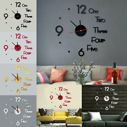 Large Wall Clock Big Watch Decal 3D Stickers Roman Numerals DIY Wall Modern Home