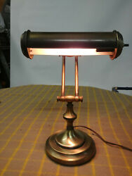 Vintage Antique Brass OrganPiano Lamp Adjustable Arms Bankers Desk Lamp