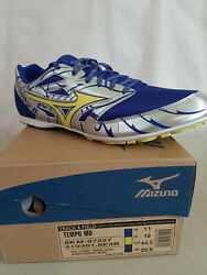 Men's Mizuno Tempo MD Track and Field Shoes Size 11 BLUE SILVER YELLOW spikes $29.90