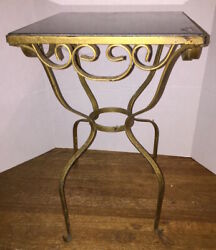 MCM Gold Wrought Iron Scrolled Table with Tile Top VINTAGE Mid-Century Modern