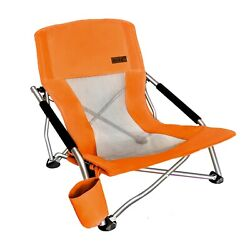 Folding Beach Chair With Cup Holder Portable Camping Ultralight Compact - Orange $38.99