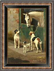 Old Master Art Antique Oil Painting animal Portrait horse dog on canvas 24quot;x36quot; $480.00