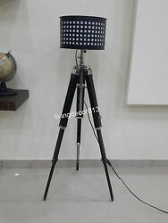 Nautical Vintage Floor Shade Lamp Black Wooden Tripod Stand Home Decor $173.00