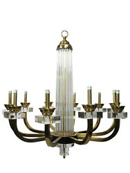 Modern History 10-Light Warhol Lucite and Brass Chandelier