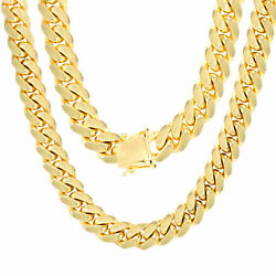 10K Yellow Gold Solid 10mm Mens Miami Cuban Chain Pendant Necklace Box Clasp 24