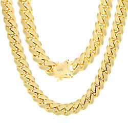 14K Yellow Gold Solid 10mm Mens Miami Cuban Chain Pendant Necklace Box Clasp 26