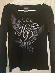 Women#x27;s Harley Davidson Black Thermal small HD round neck $14.00