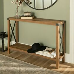 Rustic Reclaimed Barnwood Console Sofa Table Narrow w Lower Shelf Metal Accents $201.03