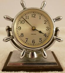 Antique Working 1940's CHELSEA Chrome Ship's Wheel Nautical Porthole Desk Clock