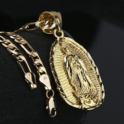 Guadalupe Width 14k Gold PT Charm Pendant 5mm 24quot; Figaro Necklace Choker Chain $14.99