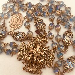 ROSARY ~ COMMUNION ~ CONFIRMATION ~ CATHOLIC ~ BRONZE ~ BLUE CRYSTAL ~ HANDMADE $195.00
