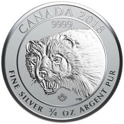 2018 Canada Wolverine 34 oz .9999 Reverse Proof Silver Coin  New from Mint Tube $26.95