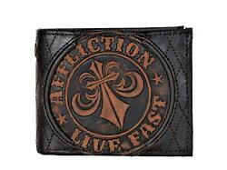 Affliction Men#x27;s Embossed Distressed Leather Bifold Wallet Brown $29.99